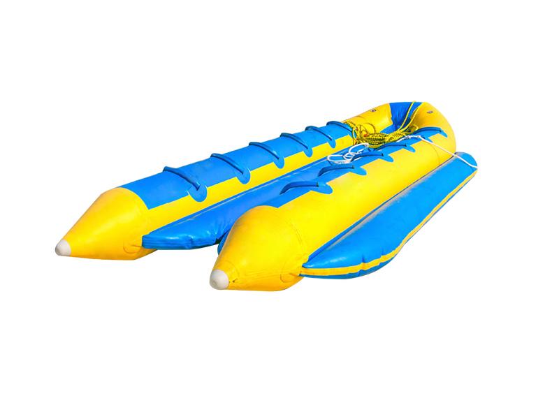 Banana boat lays on the beach